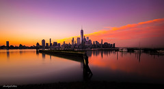 Manhattan Sunrise (andy.gittos) Tags: new york city nyc newyorkcity longexposure usa newyork reflection america sunrise river long exposure downtown manhattan united filter newport nd jersey hudson states