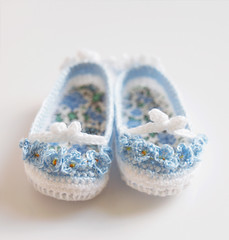 """Forget-me-nots"" crochet shoes made by me for Little Darling (Maria Kłopotowska) Tags: shoes doll crochet forgetmenot slippers littledarling crochetshoeseffner"