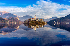 """Resplendent Afternoons  Lake Bled, Slovenia (Mark Iandolo) Tags: slovenia bled lake church travel tourism wanderlust explore afternoon reflection water muntains mountains blue clouds"