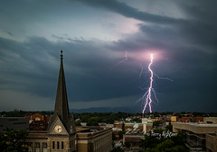 Bifid Bolt - Walking Woman With Whip and Skirt Lightning - Daytime Thunderstorm Roanoke (Terry Aldhizer) Tags: city sky storm church rain weather june clouds virginia memorial steeple roanoke terry bolt thunderstorm lightning greene thunder severe bifid aldhizer