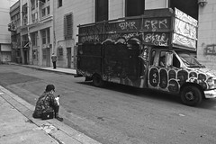 Pacific Place Alley, Union Square - San Francisco, CA (Rex Mandel) Tags: sf sanfrancisco street blackandwhite bw monochrome graffiti alley downtown disconnected unionsquare sanfranciscostreet sfstreetphotography