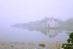 Far Side in Fog (photo fiddler) Tags: summer reflection june fog bay novascotia solstice prospect vilage 2016