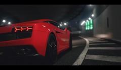 Red Bull (Thomas_982) Tags: gt5 gt6 cars lamborghini gallardo tunnel city night red auto italy ps3 granturismo bull street