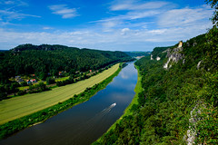 Elbe River Above Rathen, Germany (spcoonley) Tags: river germany deutschland schweiz switzerland fuji saxony sachsen fujifilm elbe rathen xe2 xf14mmf28