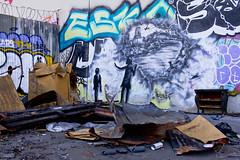 Bandit Wreckage of War1 (Brett Landrum) Tags: california street urban streetart abstract art abandoned canon photography graffiti photo losangeles los stencil angeles abstractart spray urbanart abandonedhouse spraypaint bandit vernon stencilart dtla graffitiart sprayart canon7d banditstreetart banditart