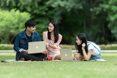 Teen high school students (Bugphai ;-)) Tags: school friends portrait people woman man cute college girl beautiful beauty smile modern lady female youth computer campus asian outside outdoors happy person book high student education university pretty sitting adult laptop library group young class highschool study teen thai attractive teenager casual studying academic teenage caucasian