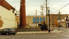 P-15-Aa-093 (neenahhistoricalsociety) Tags: downtown smokestack streetscenes bergstrom wisconsinave
