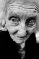 Eyes of time (Giulio Magnifico) Tags: leica old portrait bw italy woman macro eye beauty closeup blackwhite eyes time 28mm soul emotions determination udine leicaq