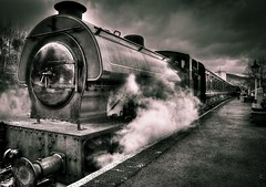 The Haulwen (nixie pics) Tags: blackandwhite wales carmarthenshire railway steam steamtrain tankengine splittoned gwilirailway