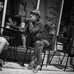 Canadians (Paul Perton) Tags: street city people urban blackandwhite bw canada vancouver square candid streetphotography canadian vancouverite cameraslenses