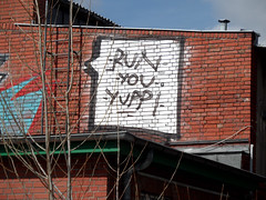 Run Yuppie, run! (onnola) Tags: streetart berlin brick wall deutschland graffiti ladder yuppie gwb mauer leiter backstein guesswhereberlin guessedberlin gwbschlafauto