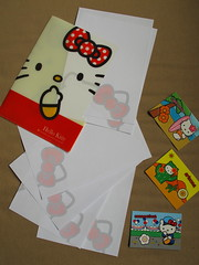 """Hello Kitty A5 folder, homemade writing paper & """"America The Beautiful"""" series 1 trading cards (Jay Tilston) Tags: hello writing paper kitty stationery a5 folder notepaper organiser"""