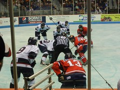 ECHL Hockey (Travis S.) Tags: green ice hockey referee wings southcarolina charleston kalamazoo faceoff echl stingrays ref northcarlestoncoliseum