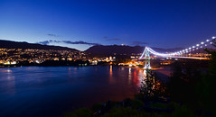 BC 5 (gryphon001) Tags: city longexposure sunset canada vancouver evening lowlight bc britishcolumbia citylights coastline stanleypark hdr topaz