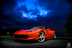 Majestic Beauty (Jason Sha'ul) Tags: longexposure red sky lightpainting field car night clouds dark evening spider italian nikon parkinglot automobile florida experiment convertible wideangle automotive ferrari leesburg