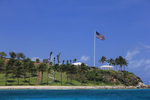 Little St James Island: All Jeff's, even the U.S. flag.  How patriotic!  But don't try to go there, unless invited.