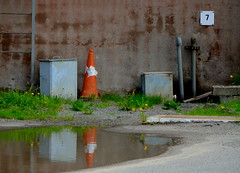 7 (AstridWestvang) Tags: industry wall puddle cone larvik