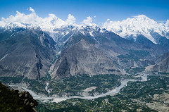 View of the Hunza Valley, with the Diran peak on the left, Northern Areas, Pakistan (Fugamundi) Tags: travel pakistan mountain snow mountains nature horizontal landscape asia scenic peak snowcapped riverbed fields karakoram geography peaks agriculture himalaya awe hunza northernareas range rugged diran cultivated karakorum