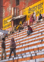 Pilgrims Sitting On Ghat Steps On River Ganges, Varanasi, Indiavaranasi, India (Eric Lafforgue) Tags: red shirtless people india vertical architecture creativity outdoors photography asia stair day sitting identity varanasi spirituality riverbank hindu hinduism ganga ganges banaras benares ghat veranasi uttarpradesh traditionalclothing realpeople smallgroupofpeople indianculture buildingexterior lowangleview colourimage img9830 sacredcity indianethnicity incidentalpeople gangasevanidhi indianethnicit