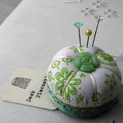 Fresh Green and White Mini Pincushion (Wychbury Designs) Tags: thread vintage miniature bottle pin handmade lace sewing craft pins fabric cap button pincushion etsy needles cushion stitched folksy wychbury