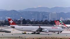 Swiss International Air Lines - HB-JMM (InSapphoWeTrust) Tags: california usa losangeles unitedstates swiss unitedstatesofamerica northamerica lax airbusa340 solothurn 340 lx 343 swissinternationalairlines swr losangelesinternationalairport klax airbusa340300 hbjmm