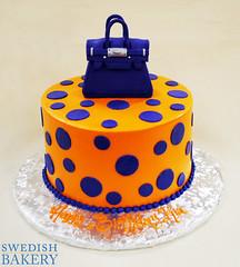 Fondant Dots & Purse (Swedish Bakery Chicago) Tags: blue orange cakes cake purse dots buttercream swedishbakery fondantfigurine