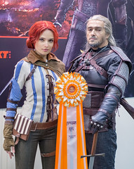 Kristina as Triss and Valery as Geralt from Witcher 3 at Igromir 2013 (Sergey Galyonkin) Tags: show game girl beautiful expo cosplay russia moscow games boothbabe 2013 igromir