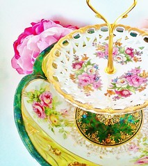 Le Petit Pretties Presents: The Lyra Vintage High Tea Dessert Stand (Haute High Tea) Tags: china pink wedding summer green floral vintage germany cakestand gold spring display handmade oneofakind victorian housewares fantasy hostess etsy centerpiece wonderland afternoontea porcelain serving marieantoinette madhatter gardenparty tabletop teaparty whimsical haute aliceinwonderland entertaining lusterware tableware hightea teastand chinabowl vintagechina 2tier cottagechic dessertbar tabledcor dessertstand lepetitpretties tiereddessertstand