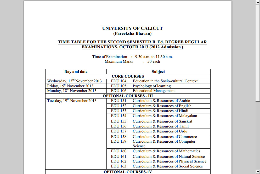 University of Calicut(Calicut University) announces SECOND SEMESTER B.Ed DEGREE REGULAR EXAMINATIONS, OCTOER 2013 (2012 Admission)  2013