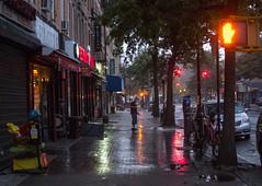 early cleaning man (grapfapan) Tags: street nyc newyorkcity morning brooklyn lights twilight flickrandroidapp:filter=none