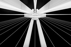 Ludwigshafen a/R, Germany (Alex Harbich) Tags: bridge white black lines night germany dark de deutschland fuji nacht tripod architektur fujifilm brcke kontrast schwarz dunkel leuchtend ludwigshafen froschperspektive weitwinkel symmetrie linien stativ weis xe1 architekcture xf1855