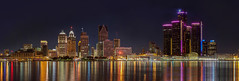 Detroit Panorama (w4nd3rl0st (InspiredinDesMoines)) Tags: city panorama ontario reflection skyline architecture night canon dark outdoor michigan pano detroit wide large windsor rencen tallbuildings 2013 5dmk2