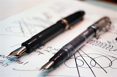 Noodler's Ink Ahab and Montblanc 149 (jjldickinson) Tags: olympusom1 fujicolorpro400 roll457o2 promastermcautozoommacro2870mmf2842 promasterspectrum772mmuv wrigley sketch drawing blueblack ink paper canson journal pen fountainpen ahab montblanc 149 meisterstuck diplomat broadnib mediumnib dof longbeach