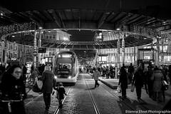 Place de l'Homme de Fer, Strasbourg (Etienne Ehret) Tags: street light bw black france night canon noir place mark lumire strasbourg ii alsace 5d pancake 40mm rue nuit blanc f28 homme fer noirblanc vision:dark=0518 vision:outdoor=0613 vision:sky=0592