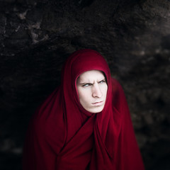 The Hermit (Christopher J. Rivera) Tags: old light red portrait white man black art texture contrast photoshop canon dark photography eyes rocks blind antique magi