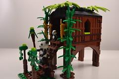 Panda's bamboo hut (Jam Pot Studios) Tags: china plants tree panda lego bricks bamboo hut