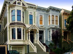 Row of Victorian Houses (Wernher Krutein) Tags: sanfrancisco california city travel houses usa building history home architecture colorful landmark structure historic american archives housing ornate fabulous residential scenics paintedvictorian rowofvictorianhouses