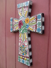 """Latest mosaic art cross titled """"Easter Bouquet"""". (dumblady mosaics) Tags: china abstract flower floral vintage religious mixed media colorful catholic cross handmade cut glassgems rustic mosaics style wallart tiles precision plates chic etsy decor shards dinnerware shabby piqueassiette focal picassiette mosaicart brokenplates cottagechic christinemorris dumbladymosaics"""