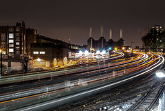 Ebury Bridge HDR (Ajeet Panesar) Tags: bridge light white motion black colour london water monochrome modern night speed train reflections photography evening movement long exposure tate tube smooth tracks railway victoria structure millennium shutter battersea shard powerstation ebury