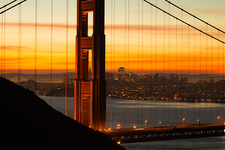 Transamerica Pyramid Peeking Through the Golden Gate Bridge