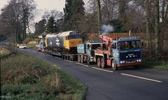 A2-165.  A very unusual picture of 50021 'Rodney' on a low loader en route to Toddington (GWSR). Picture taken at Seven Springs on A436  nr. Cheltenham. 24th November 1992. (cotswold45) Tags: tractor truck lorry camion erf heavy towing ballast daf lkw wrecker haulage 3300 schwerlast allelys