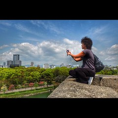 Taking a shot of Osaka city (: ) :) Tags: city photography osaka osakacastle takephotograph