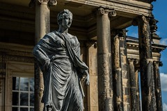 Statue (Jamo_115) Tags: york blue england sky castle history home statue stone architecture lady nikon howard yorkshire dirty worn figure nikkor stately d3200