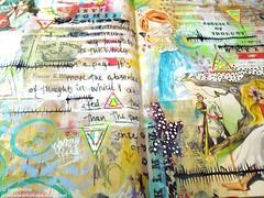 Tonights art journal page (Jennibellie) Tags: portrait art girl collage ink creativity sketch artwork paint artist acrylic background paintings creative craft sketchbook stamp tape sharpie create crayon gouache scrap artjournal washi artjournalpage