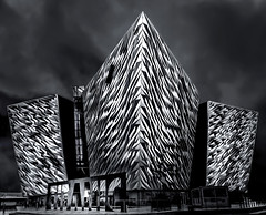 Titanic - Revisited (Glenn D Reay) Tags: titanic building belfast northernireland mono blackandwhite architecture modern city olympus xz10 glennreay