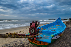 Resting boat... (Ivon Murugesan) Tags: travel sky water clouds boat fishing fishermen cloudy places nopeople boating chennai cloudformation tamilnadu mahabalipuram mamallapuram waterscapes letsexplore