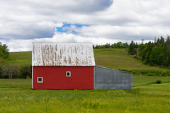 Red Barn (Ron Scubadiver's Wild Life) Tags: red sky architecture clouds barn rural landscape nikon farm fields 24120