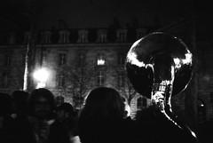 For No One (GG_Abitbol) Tags: light people white black paris reflection film monochrome night noir place tmax crowd iso 1600 400 analogue 500 et rpublique nuit blanc ricoh gx debout soubassophone soussaphone