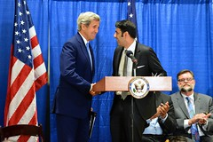 Secretary Kerry Shakes Hands With Special Representative Zafar Before Addressing the Audience at an Interfaith Iftar to Mark World Refugee Day (U.S. Department of State) Tags: angelinajolie johnkerry unhcr iftar worldrefugeeday refugeeswelcome shaarikzafar