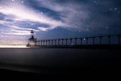 (cara zimmerman) Tags: sky lighthouse beach night stars snowflakes indiana tripleexposure washingtonpark michigancity beverlyshores